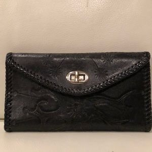 "Handbags - VINTAGE Black Hand-Tooled Leather Wallet, ""Ethel"""